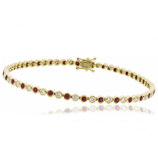 2.35ct 18ct Yellow Gold Ruby Bracelet