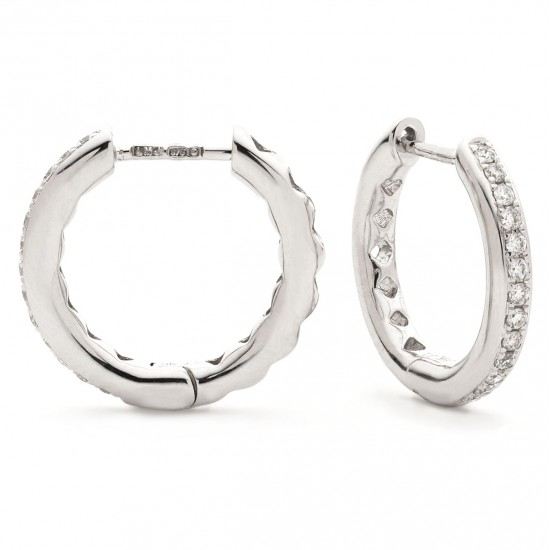 0.17ct 9ct  White Gold Hoop Earrings