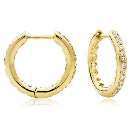 0.17ct 9ct  Yellow Gold Hoop Earrings