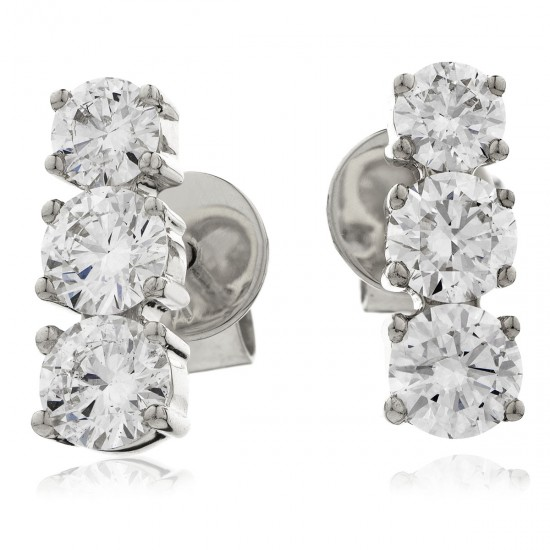 0.75ct 18ct White Gold Drop Earrings