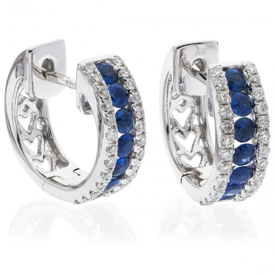 0.90ct 18ct White Gold Blue Sapphire Earrings