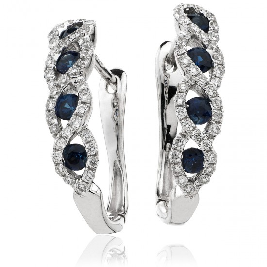 0.65ct 18ct White Gold Blue Sapphire Earrings