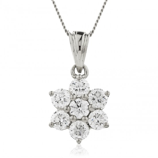 0.25ct 9ct  White Gold Cluster Pendant