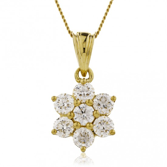0.25ct 9ct  Yellow Gold Cluster Pendant