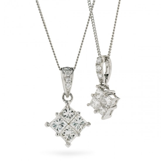 0.25ct 18ct White Gold Cluster Pendant