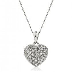 0.20ct 18ct White Gold Heart Pendant