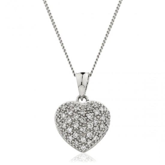 0.20ct 9ct  White Gold Heart Pendant