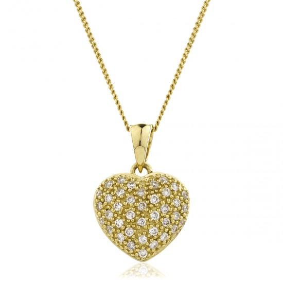 0.20ct 9ct  Yellow Gold Heart Pendant
