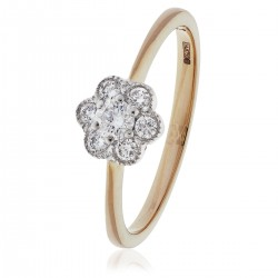 0.30ct 18ct Rose Gold Cluster Ring