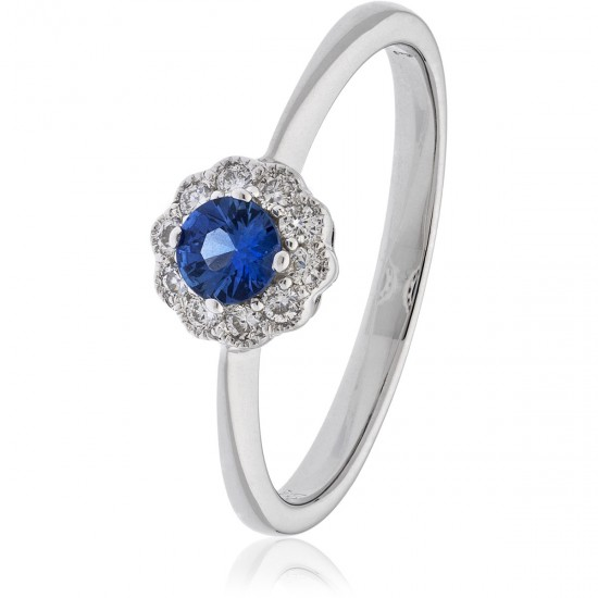 0.33ct 18ct White Gold Blue Sapphire Ring