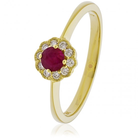 0.35ct 18ct Yellow Gold Ruby Ring