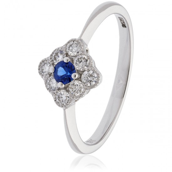0.40ct 18ct White Gold Blue Sapphire Ring