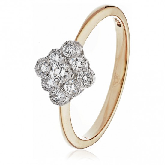 0.40ct 18ct Rose Gold Cluster Ring