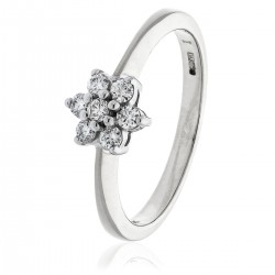 0.25ct 9ct  White Gold Cluster Ring