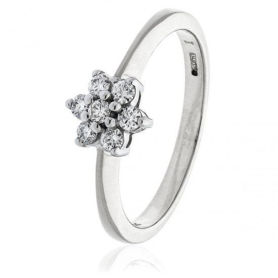 0.25ct 18ct White Gold Cluster Ring